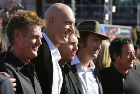 Midnight Oil in 2006: (l-r) Bassist Bones Hillman, singer Peter Garrett, guitarists Martin Rotsey and Jim Moginie, drummer Rob Hirst