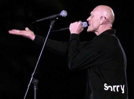 Midnight Oil frontman Peter Garrett, during the band's performance at the Sydney Olympics in 2000