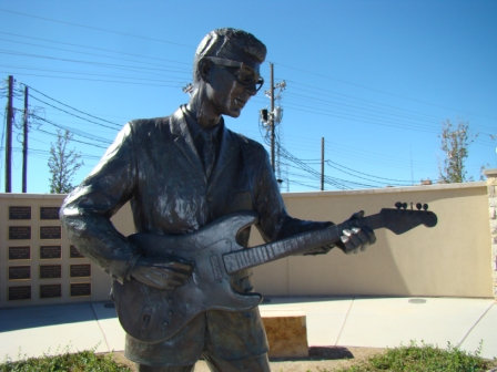 Buddy Holly Statue, Lubbock. One of the guitar pegs has been vandalized