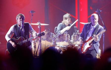Roger Daltrey and Pete Townshend at the VH1 Honors tribute to the Who in 2008. Drummer Zak Starkey is in the background.