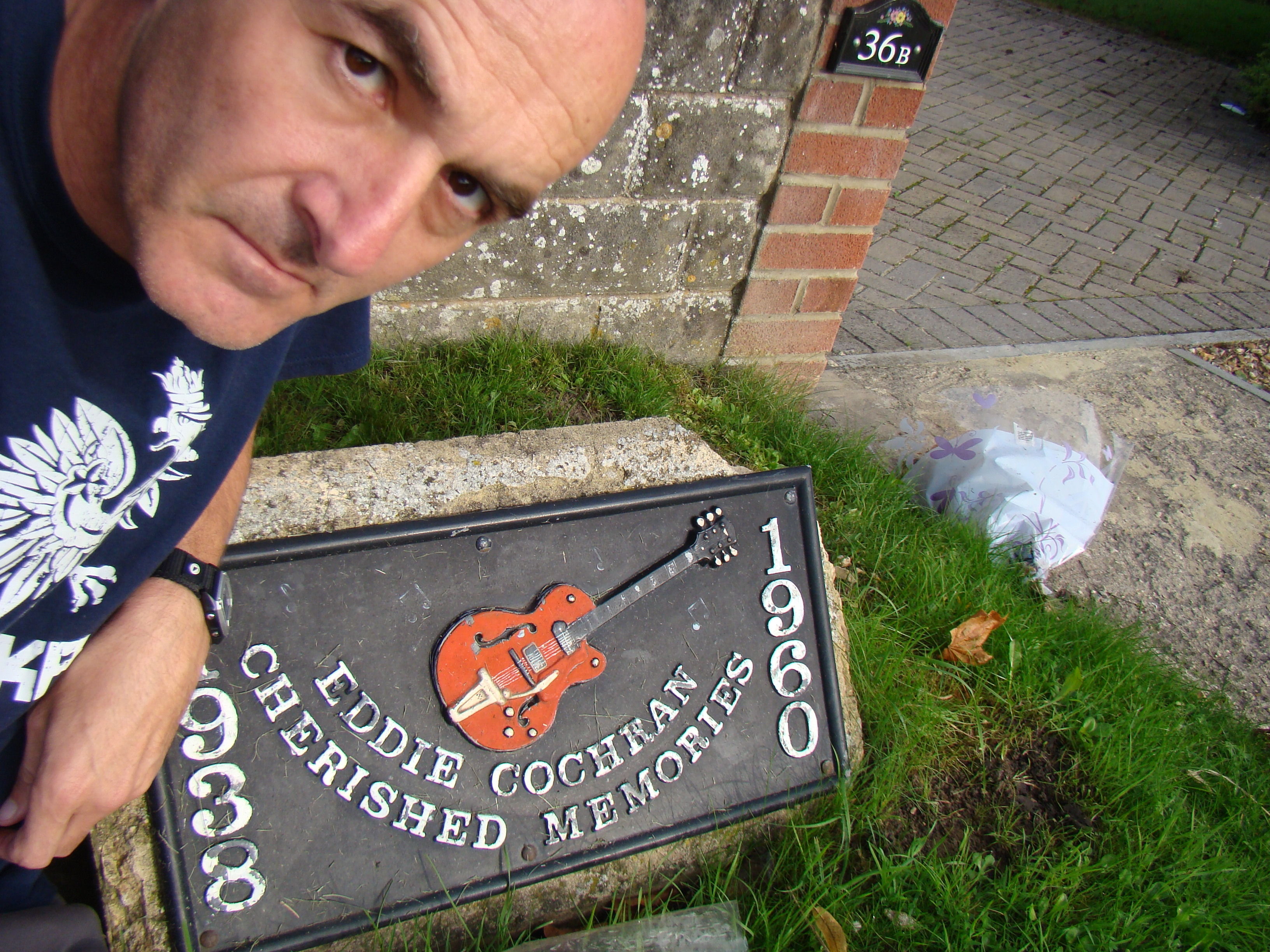 The marker at the Eddie Cochran crash site • Rowden Hill, Chippenham