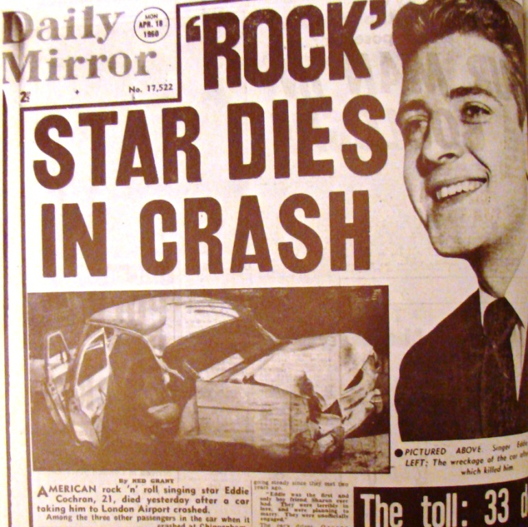 London's Daily Mirror announces the death of Eddie Cochran, May 18, 1960.
